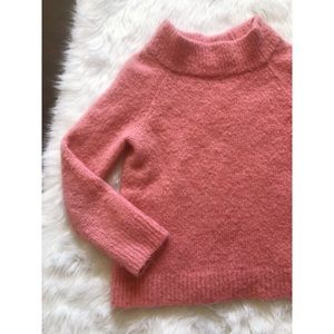 Anthropologie Moth Pink Fuzzy Mock Neck Sweater